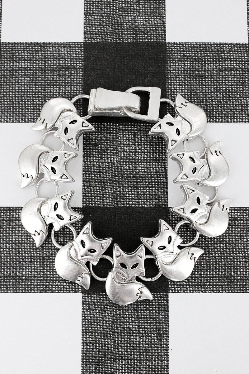 Worn Silvertone Fox Magnetic Bracelet