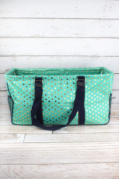 NGIL Metallic Gold Polka Dot Mint Collapsible Haul-It-All Basket with Mesh Pockets