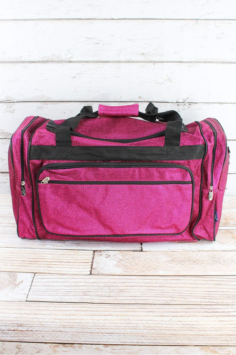 NGIL Hot Pink Glitz & Glam Duffle Bag with Navy Trim 23""