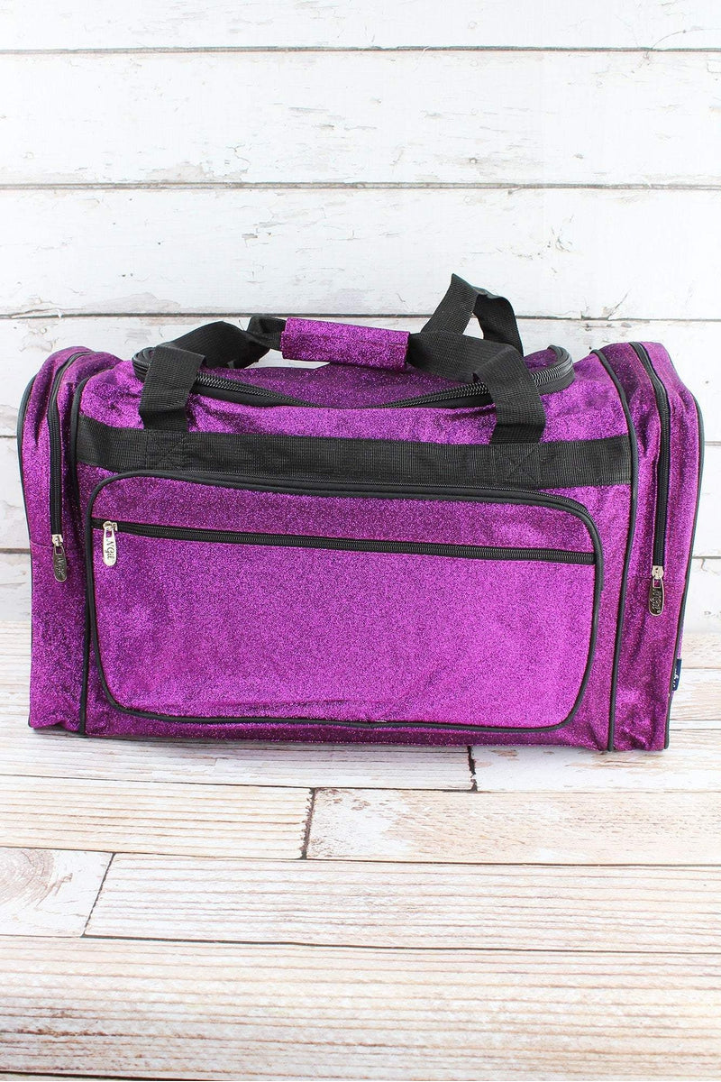 NGIL Purple Glitz & Glam Duffle Bag with Navy Trim 23""