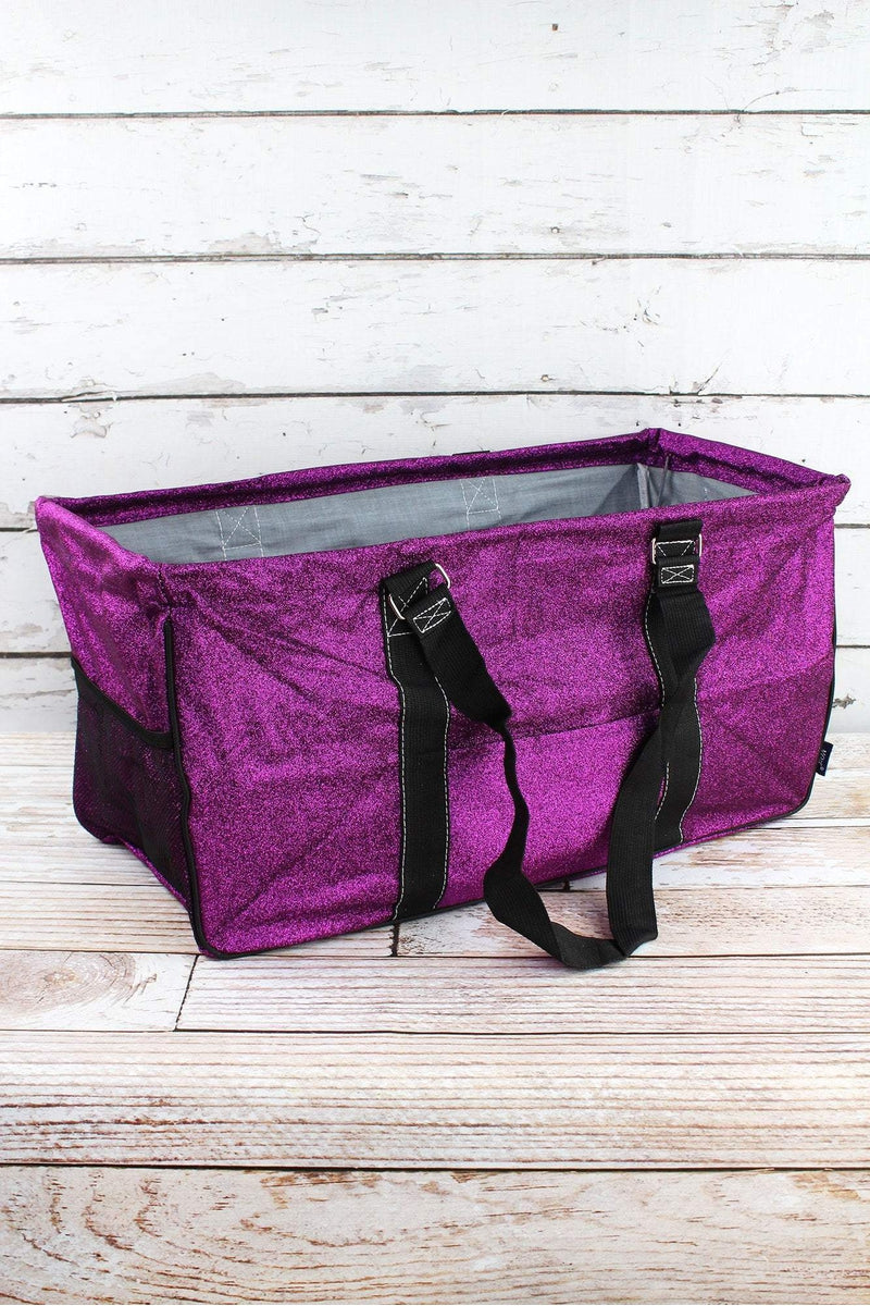 NGIL Purple Glitz & Glam Collapsible Haul-It-All Basket with Mesh Pockets