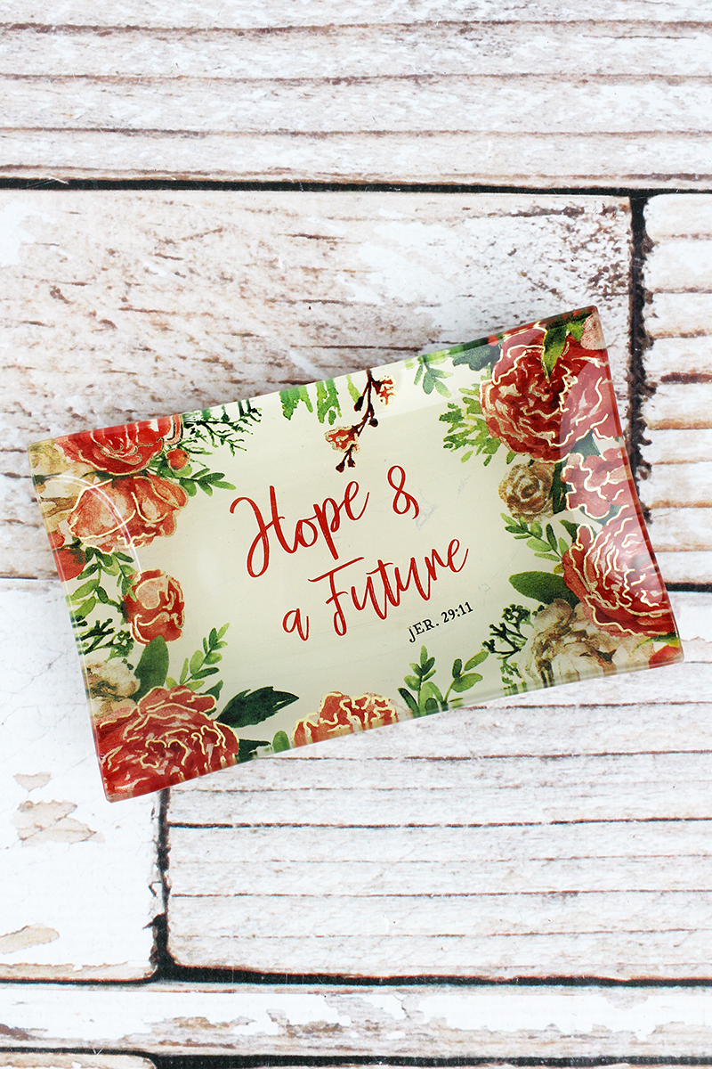 Hope & A Future Glass Trinket Tray