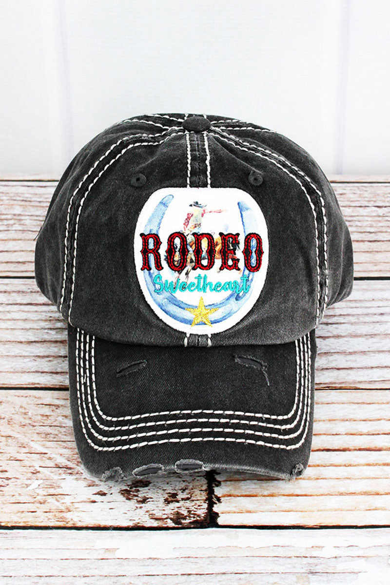 Distressed Black 'Rodeo Sweetheart' Cap