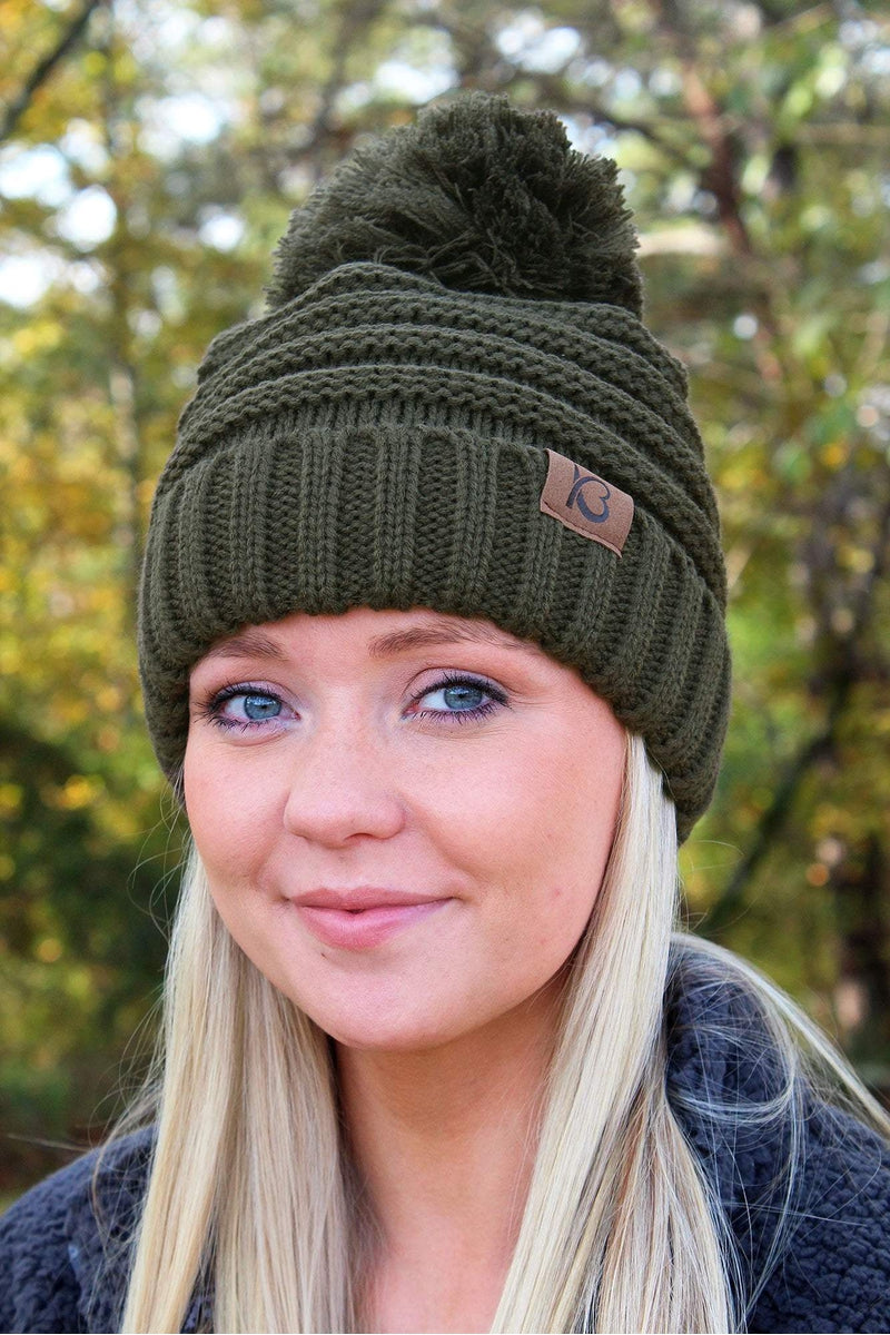 Snowball Fight Pom Pom Beanie, Olive