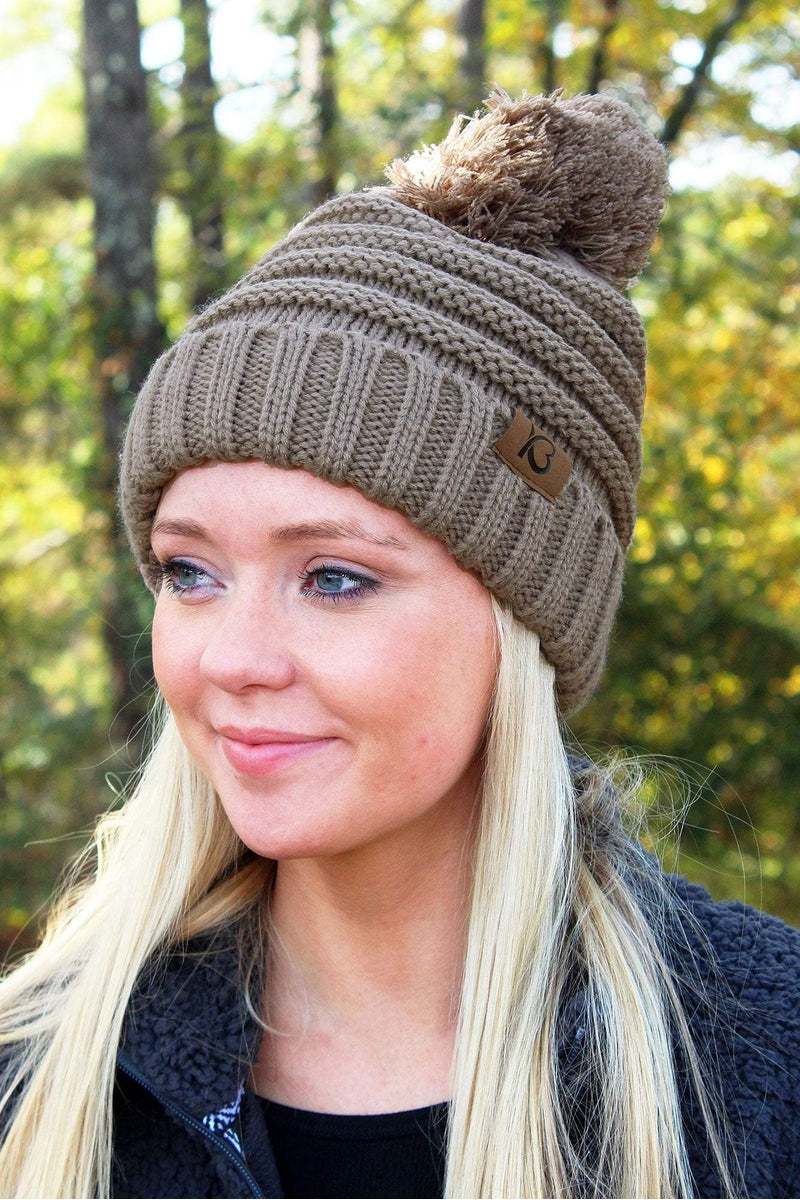 Snowball Fight Pom Pom Beanie, Taupe