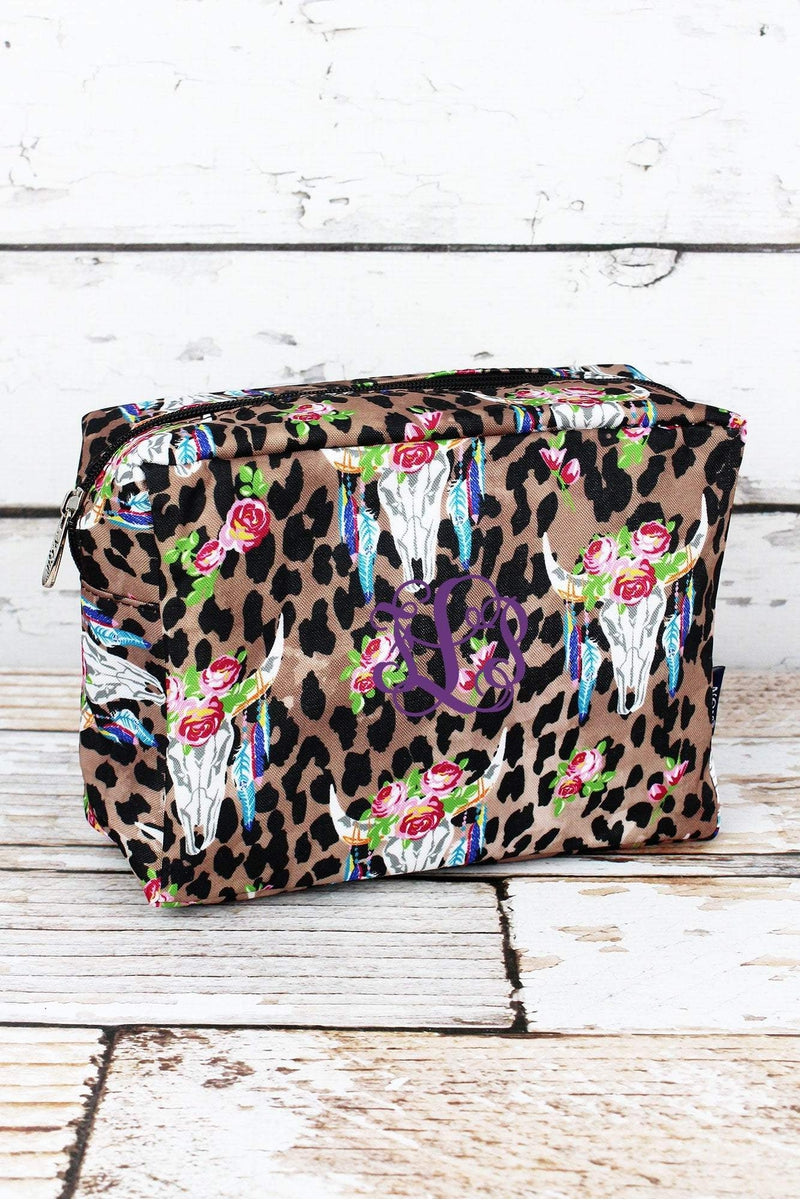 NGIL Free Spirit Steer Leopard Cosmetic Case