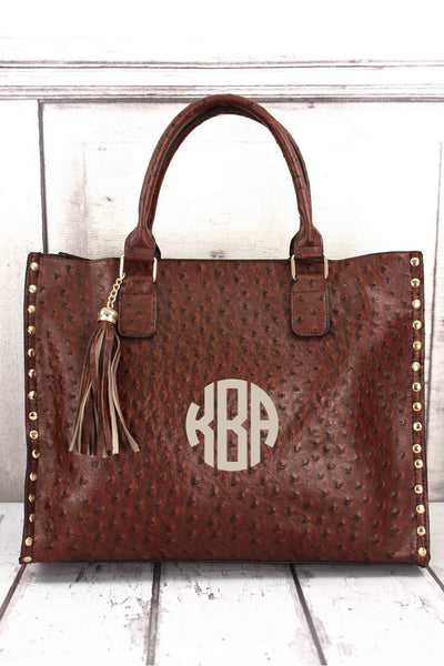 NGIL Brown Faux Ostrich Leather Studded 2-in-1 Tassel Tote