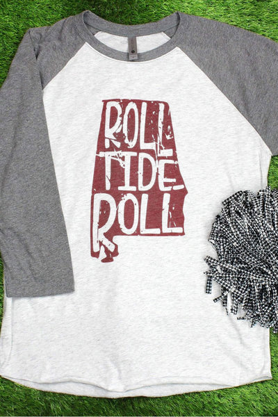 Alabama Football Pride Tri-Blend Unisex 3/4 Raglan