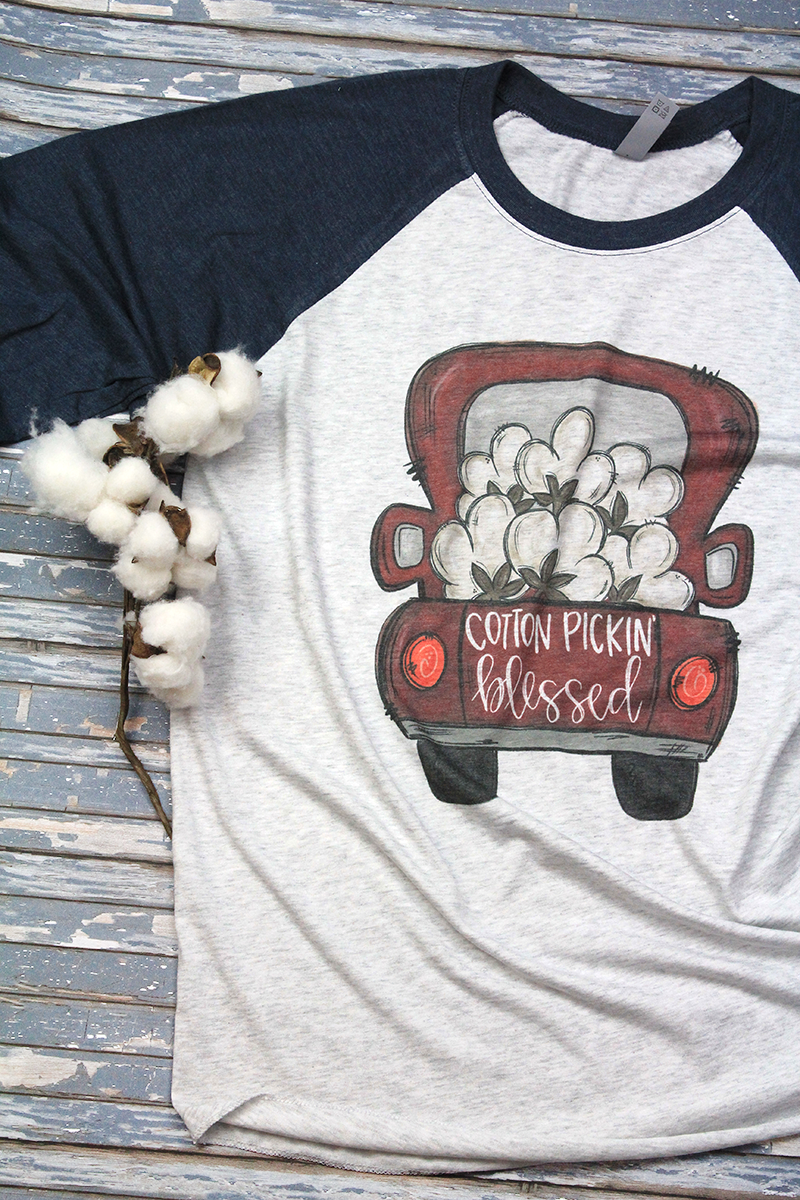 Cotton Pickin' Blessed Tri-Blend Unisex 3/4 Raglan
