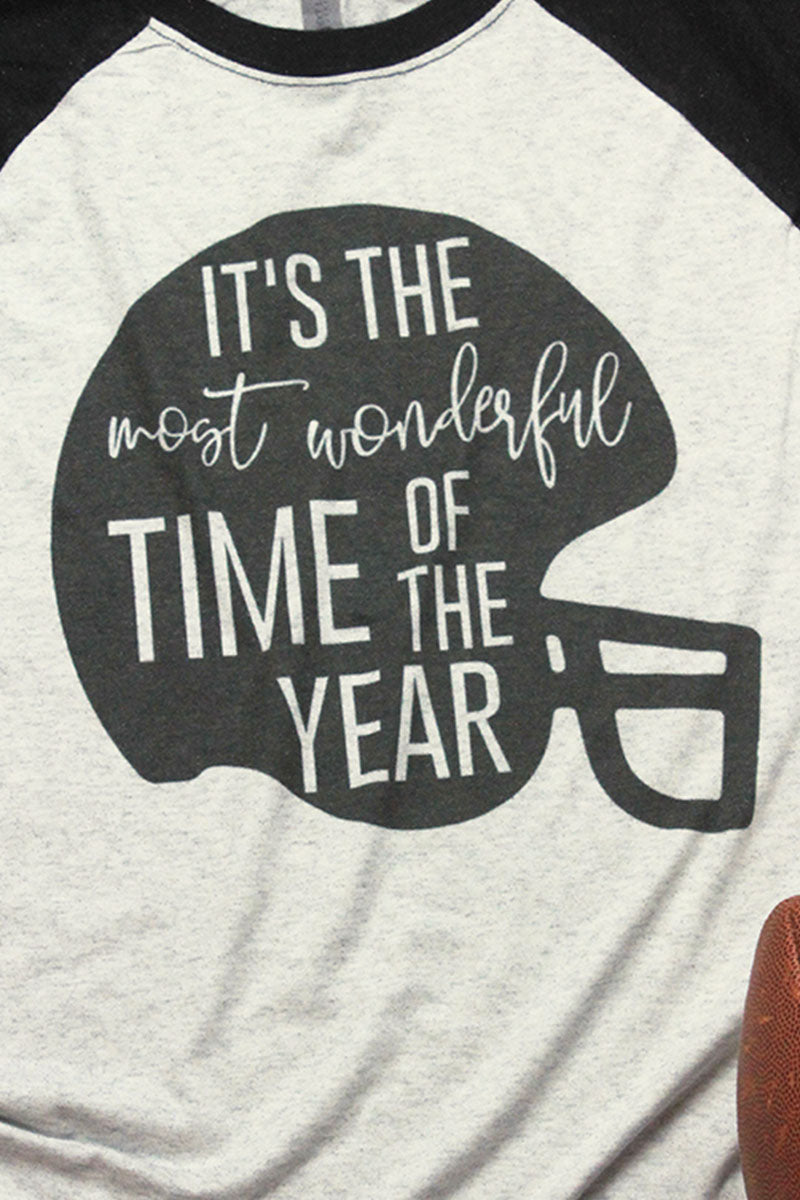 Football Most Wonderful Time Of The Year Tri-Blend Unisex 3/4 Raglan