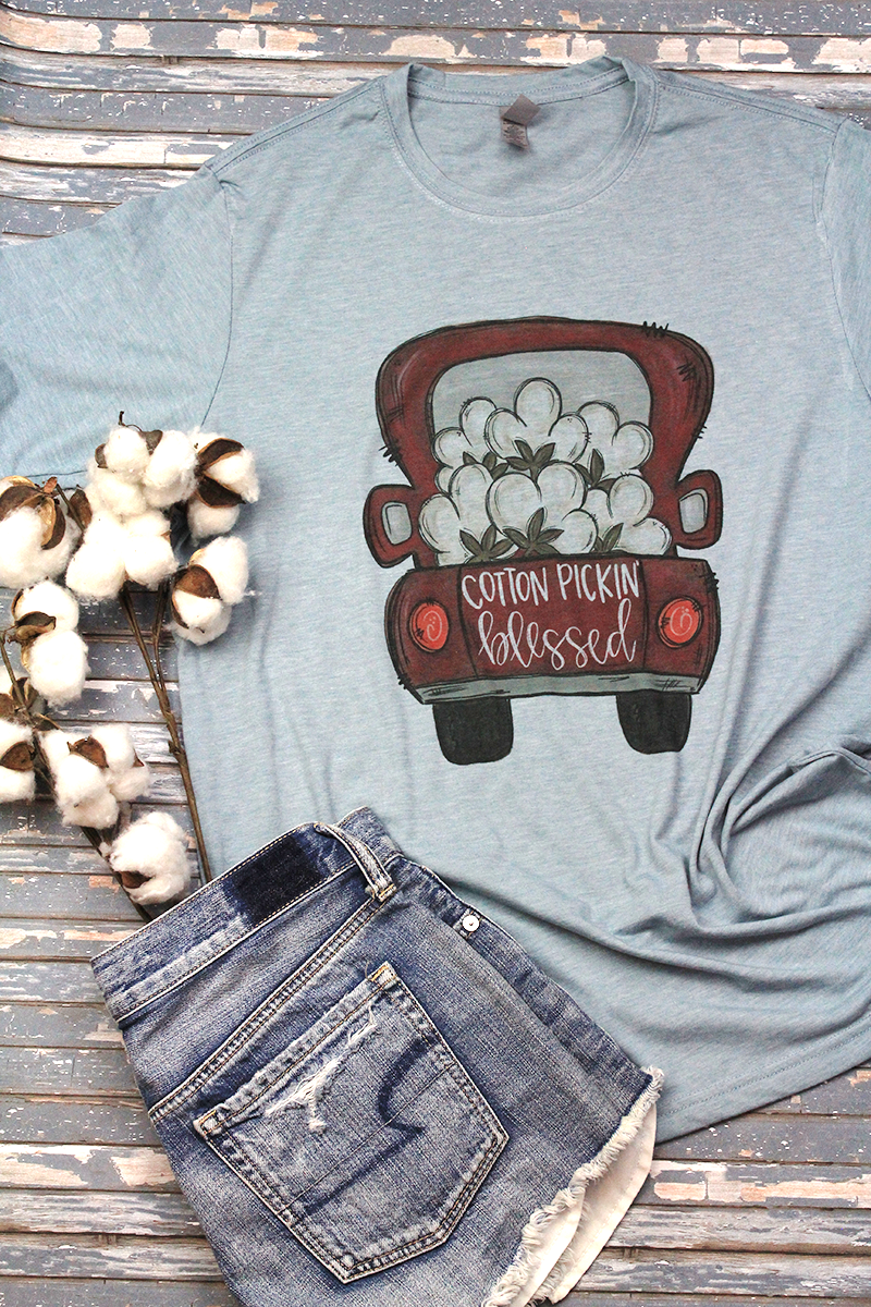 Cotton Pickin' Blessed Poly/Cotton Tee