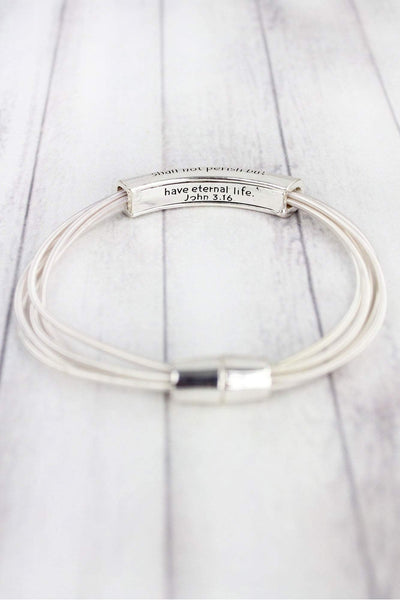 Silvertone John 3:16 Bar Piano Wire Magnetic Bracelet
