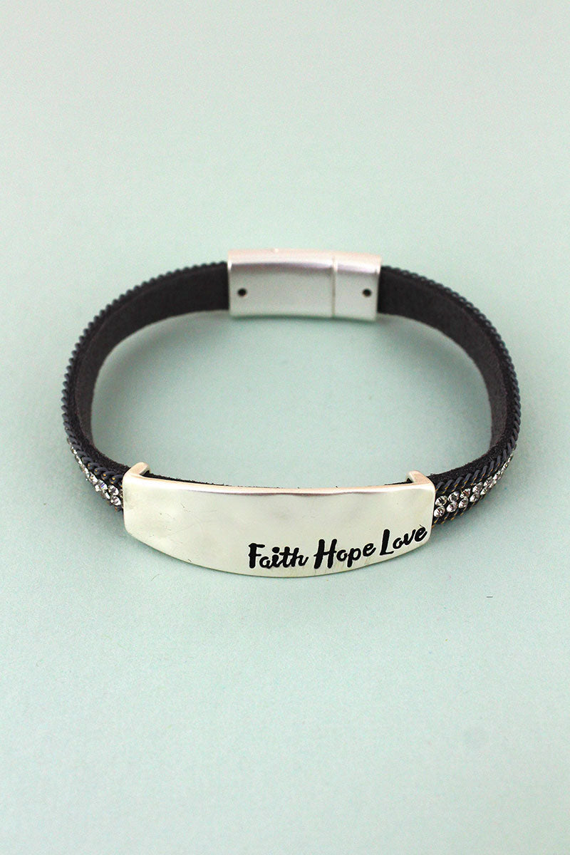 Silvertone 'Faith Hope Love' Gray Chain and Crystal Magnetic Bracelet