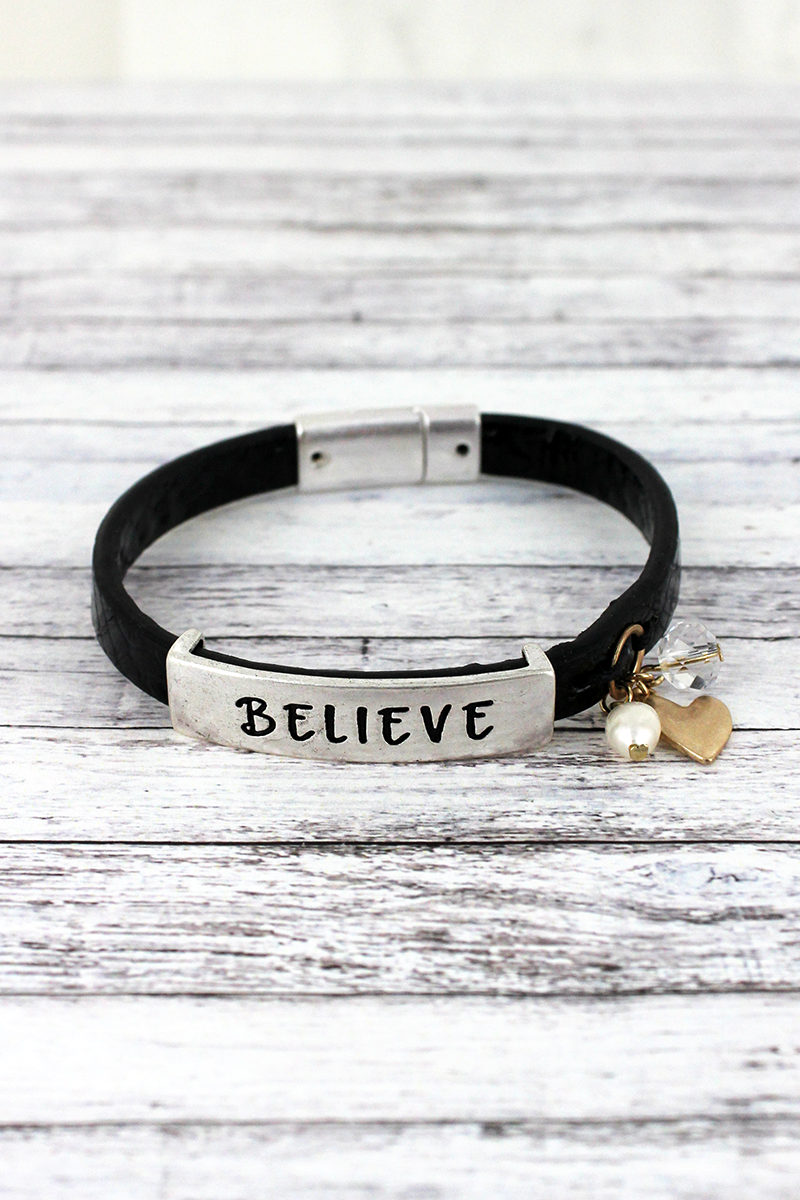 Silvertone 'Believe' Black Faux Snakeskin Leather Magnetic Bracelet