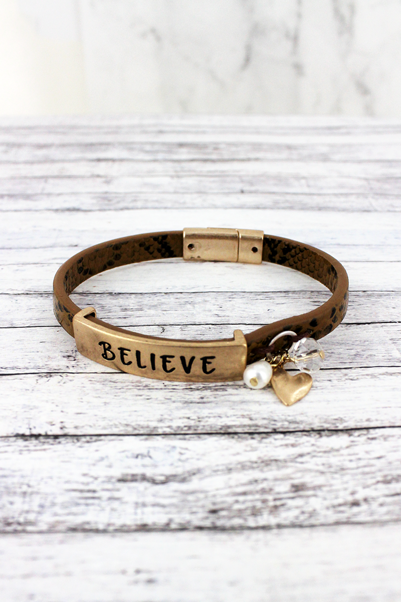 Goldtone 'Believe' Brown Faux Snakeskin Leather Magnetic Bracelet