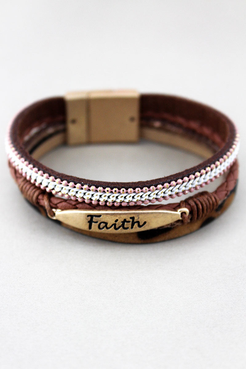 Brown Leopard and Worn Goldtone 'Faith' Multi-Strand Magnetic Bracelet