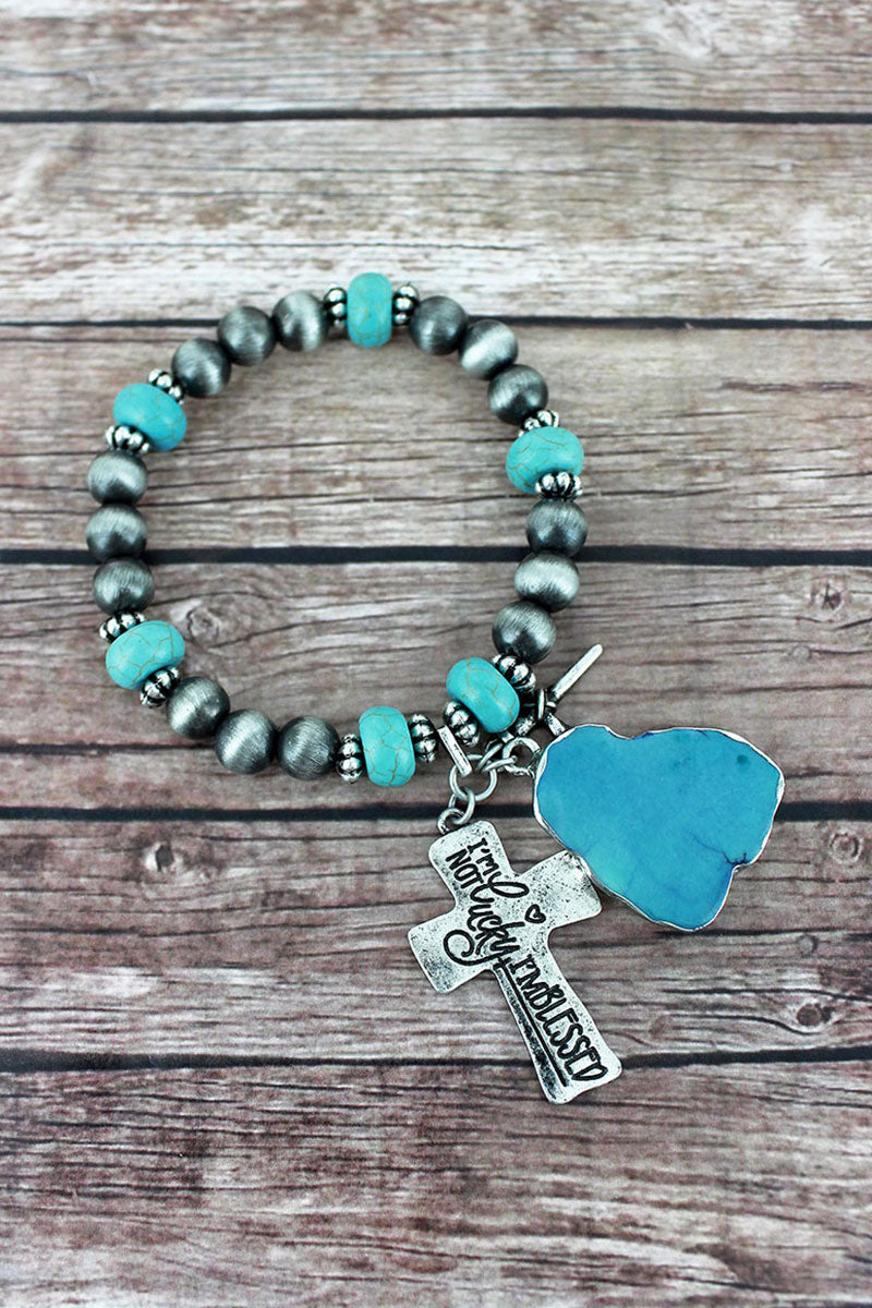 Cross Cluster Charm Silver Navajo Pearl & Turquoise Beaded Bracelet