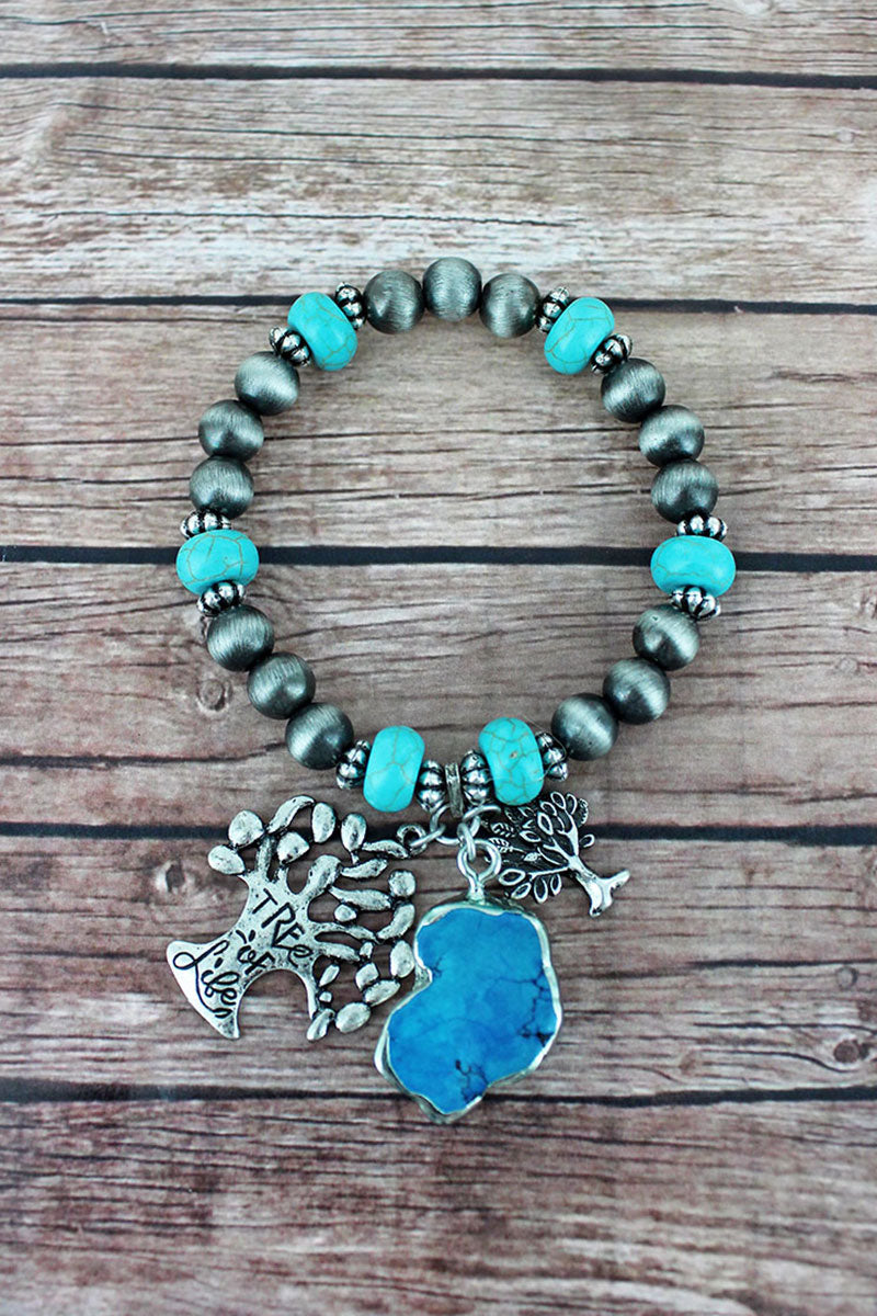 Tree of Life Cluster Charm Silver Navajo Pearl & Turquoise Beaded Bracelet