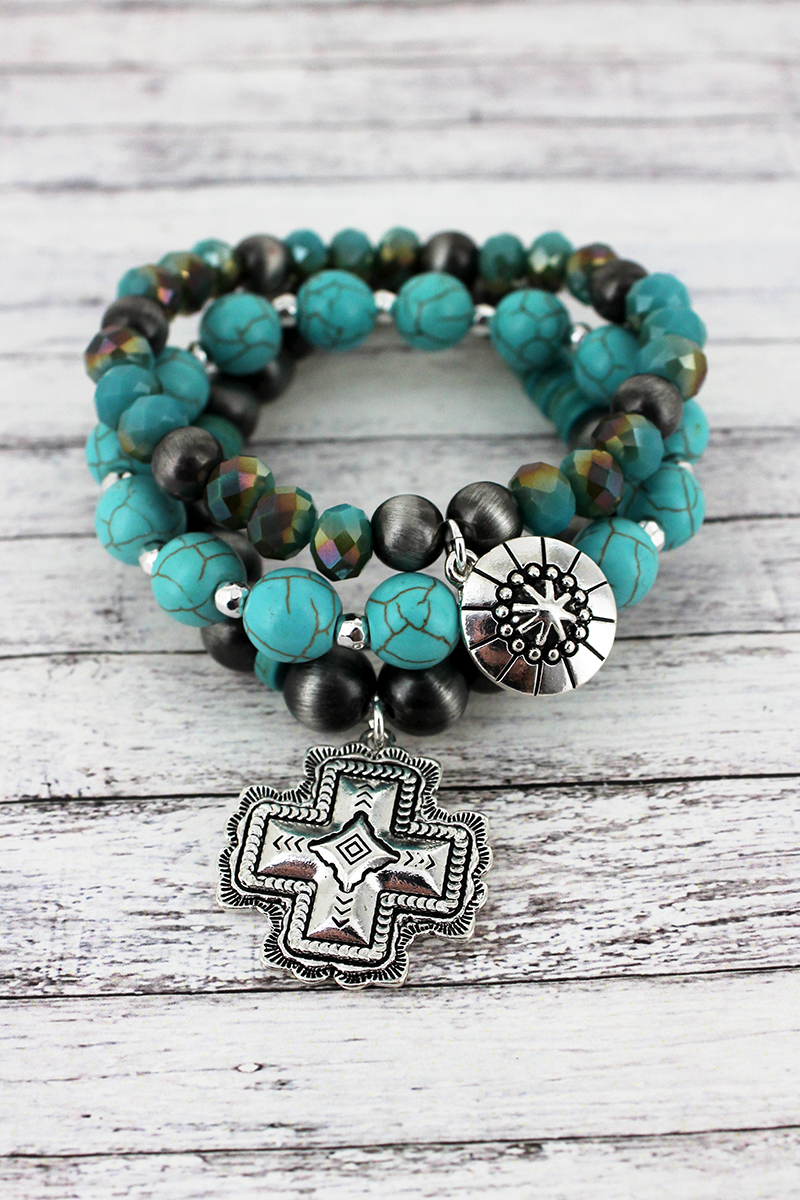 Silvertone and Square Cross Charm Navajo Pearl and Turquoise Bead Bracelet Set