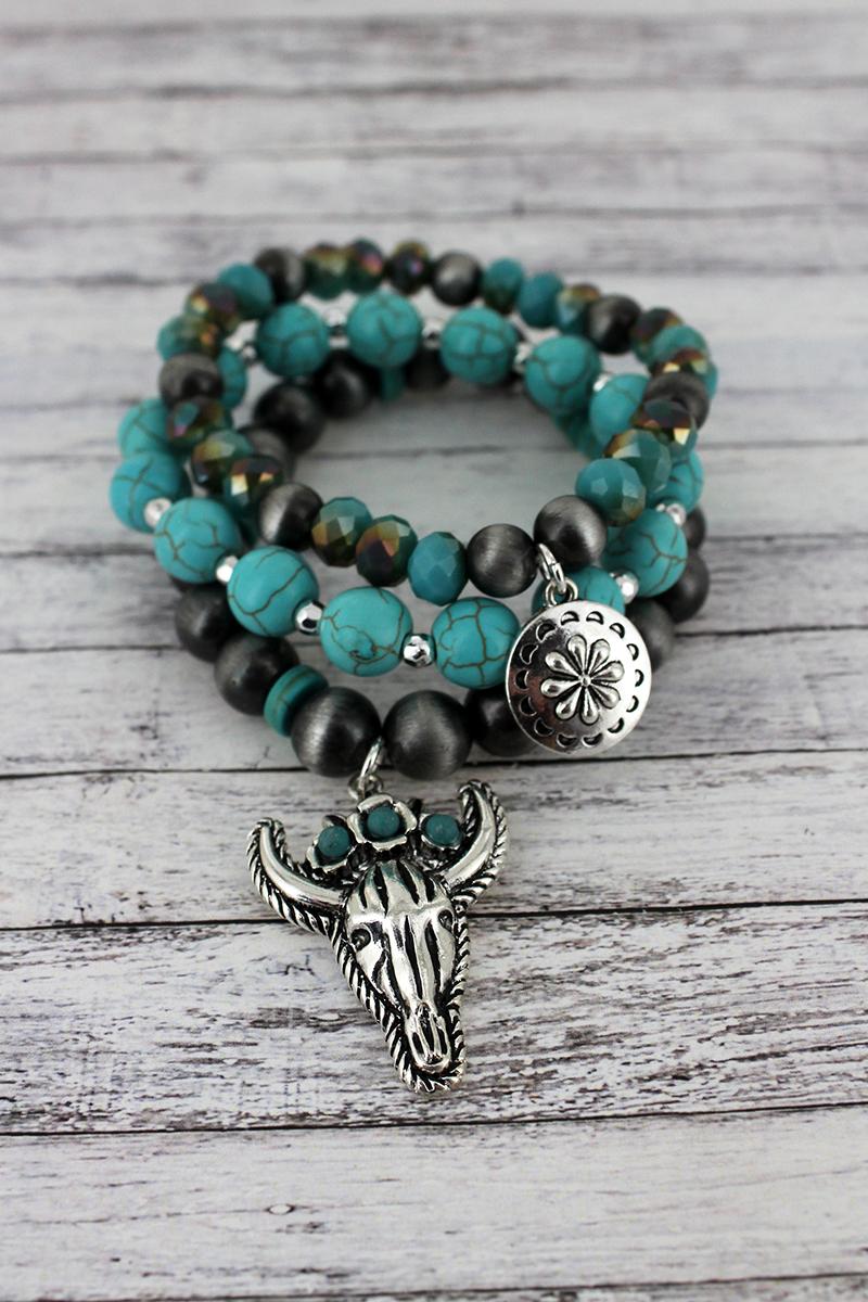 Silvertone and Steer Charm Navajo Pearl and Turquoise Bead Bracelet Set