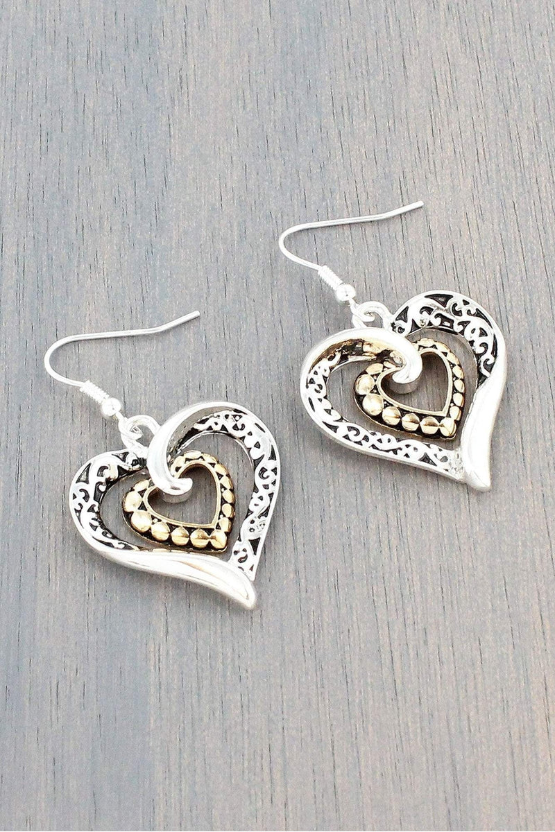 Antique Two-Tone Double Twisted Heart Earrings