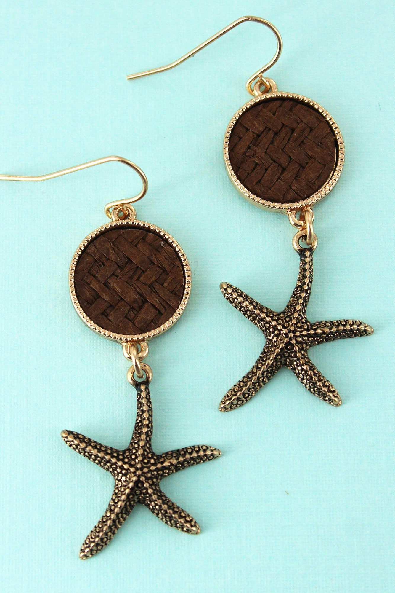 Brown Rattan Disk and Goldtone Starfish Earrings