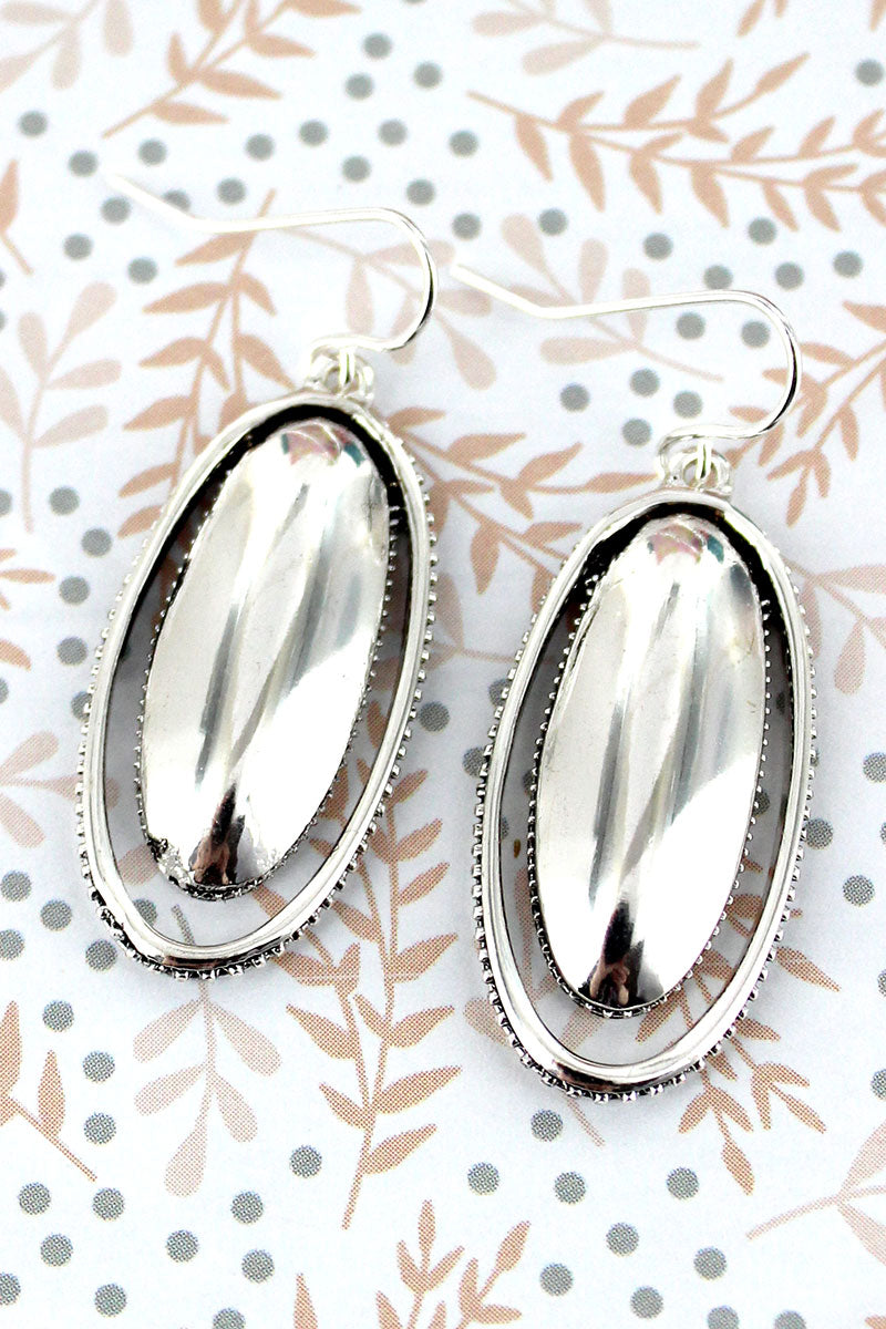 Antique Silvertone Textured Trim Double Oval Earrings