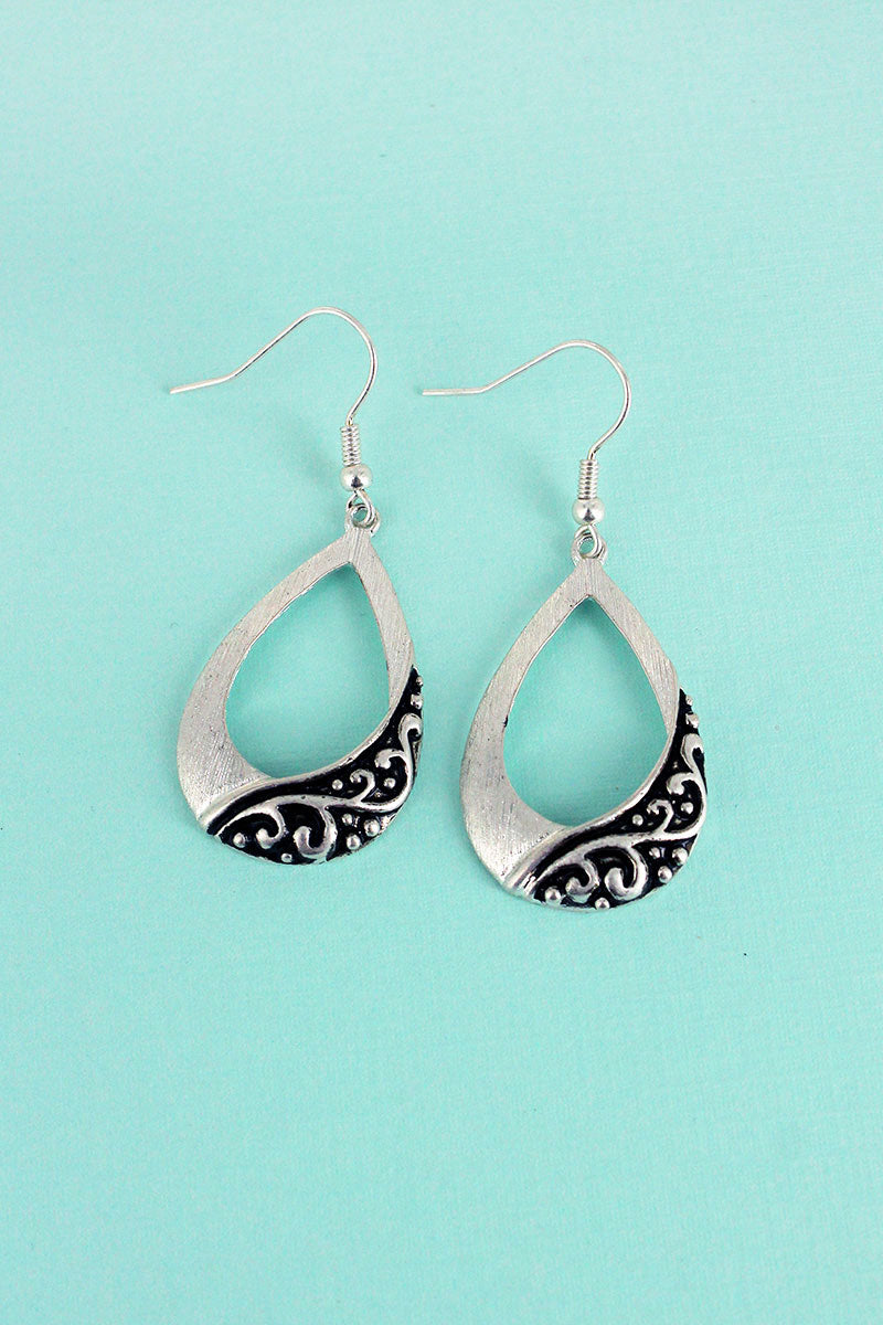 Worn Silvertone Scroll Textured Teardrop Earrings