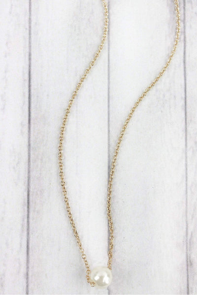 Single Pearl Goldtone Necklace