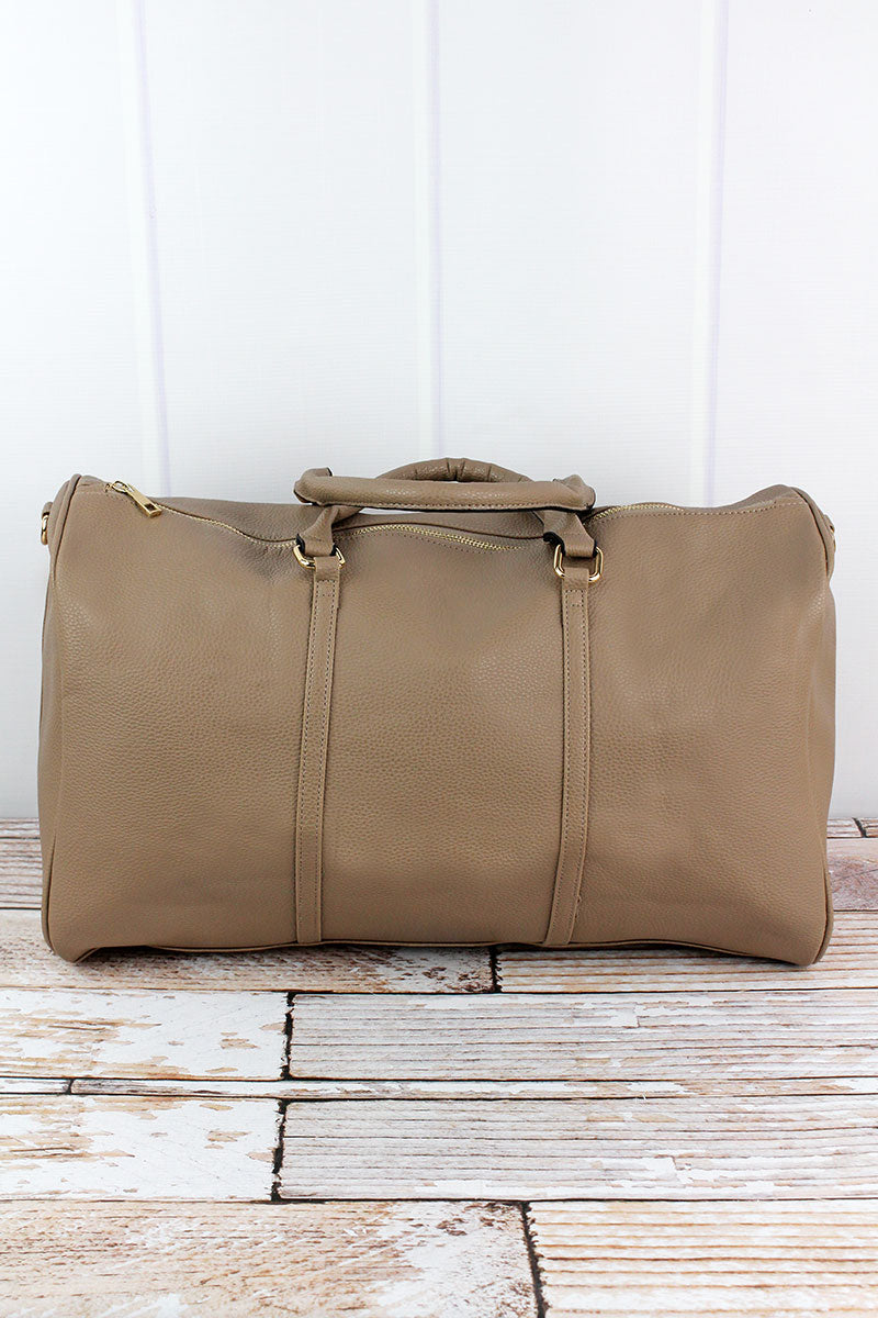 NGIL Taupe Gray Faux Leather Weekender Duffle Bag