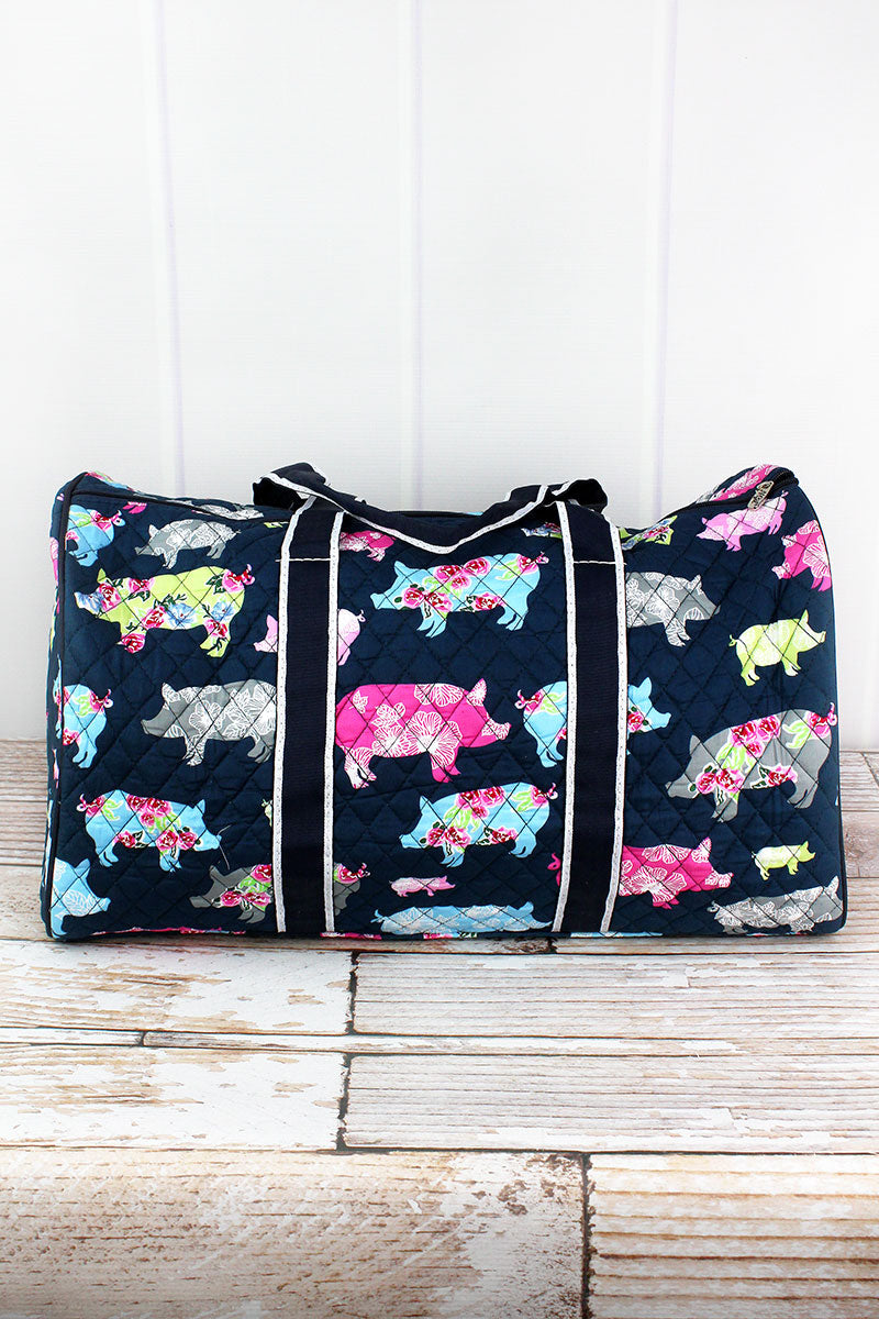 NGIL Posh Pigs Quilted Duffle Bag 21""