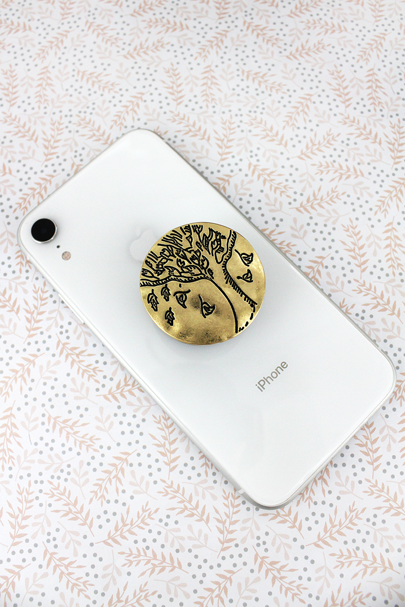 Worn Goldtone Tree of Life Disk Cell Phone Grip Cover