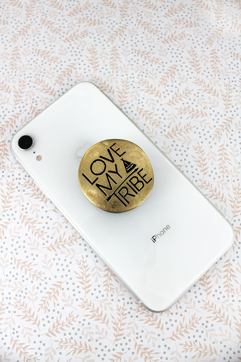 Worn Goldtone 'Love My Tribe' Disk Cell Phone Grip Cover