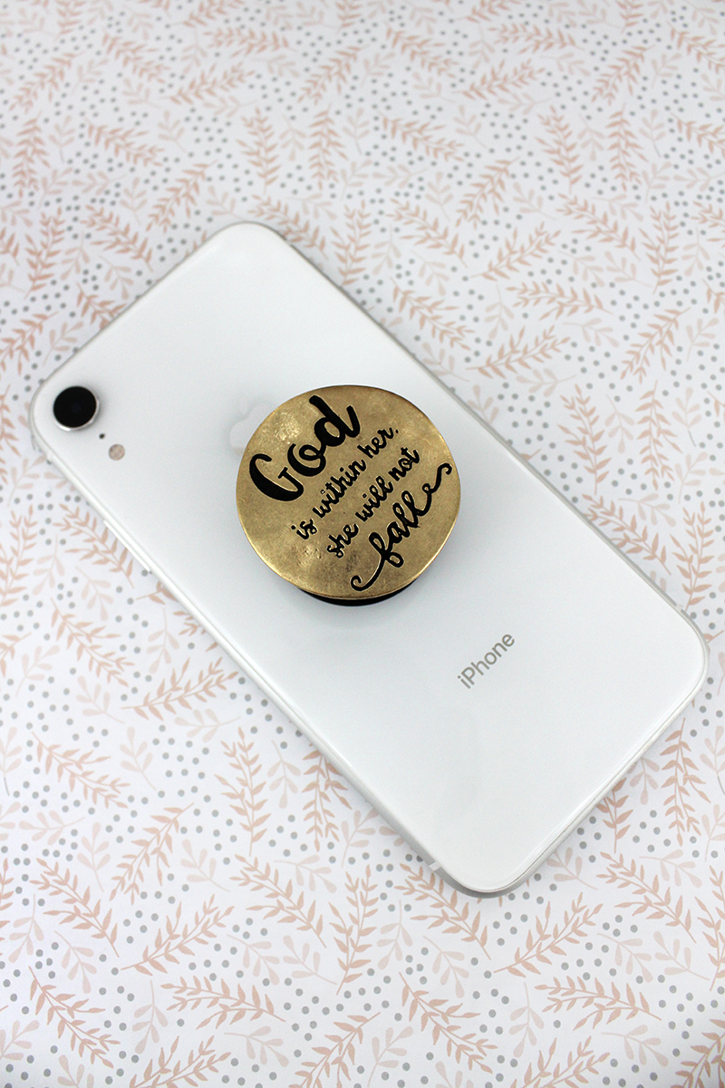 Worn Goldtone 'She Will Not Fall' Disk Cell Phone Grip Cover
