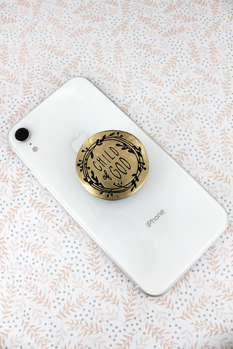 Worn Goldtone 'Child Of God' Disk Cell Phone Grip Cover