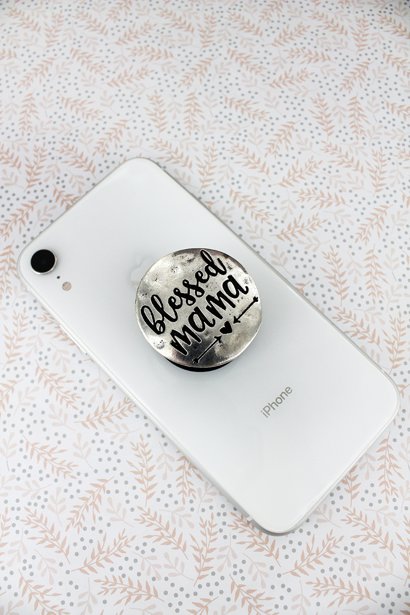 Burnished Silvertone Blessed Mama Disk Cell Phone Grip Cover