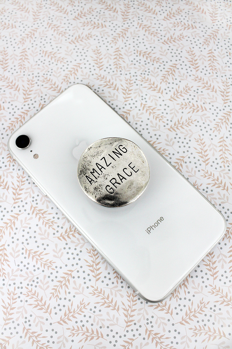 Burnished Silvertone 'Amazing Grace' Disk Cell Phone Grip Cover