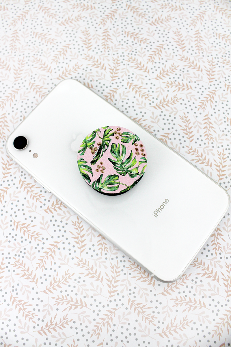 Glitter Palm Leaf Wood Disk Cell Phone Grip Cover