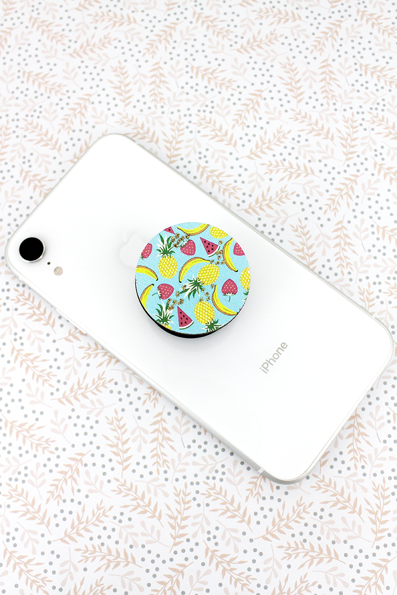 Glitter Summer Fruits Wood Disk Cell Phone Grip Cover