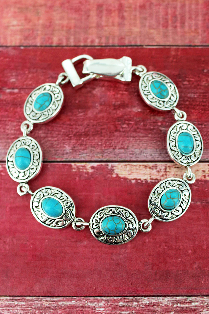 Turquoise Beaded Silvertone Scroll Oval Magnetic Bracelet