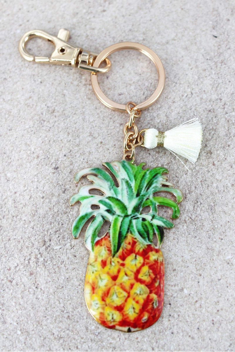 Pineapple with Tassel Charm Goldtone Keychain