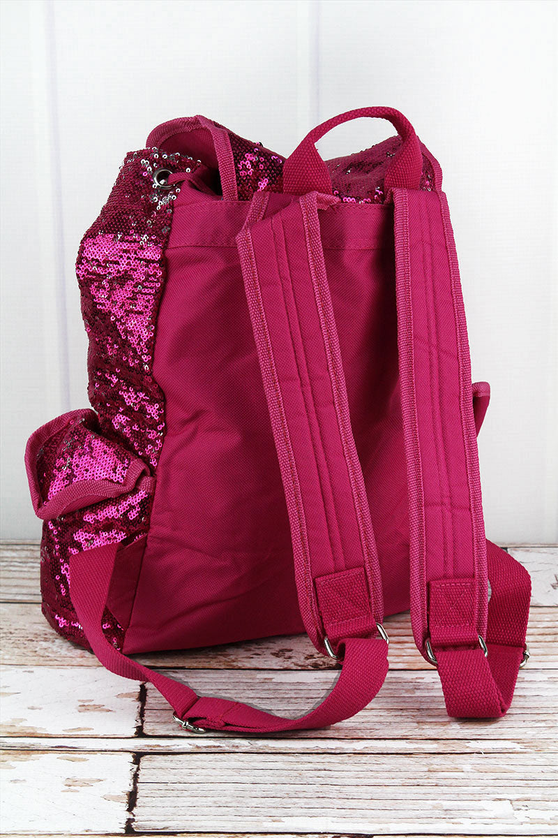 SALE! NGIL Hot Pink and Silver Mermaid Sequin Drawstring Backpack
