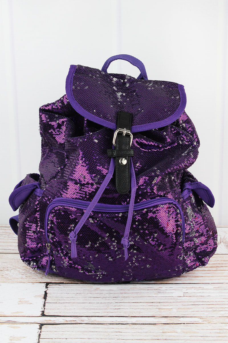 SALE! NGIL Purple and Silver Mermaid Sequin Drawstring Backpack