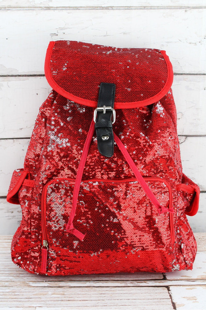 NGIL Red and Silver Mermaid Sequin Large Drawstring Backpack