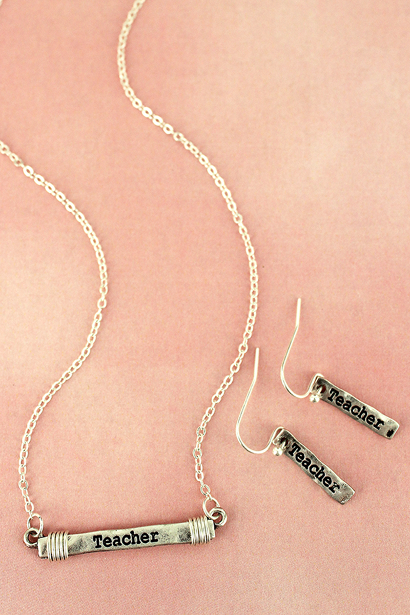 Worn Silvertone Wire-Wrapped 'Teacher' Bar Necklace and Earring Set