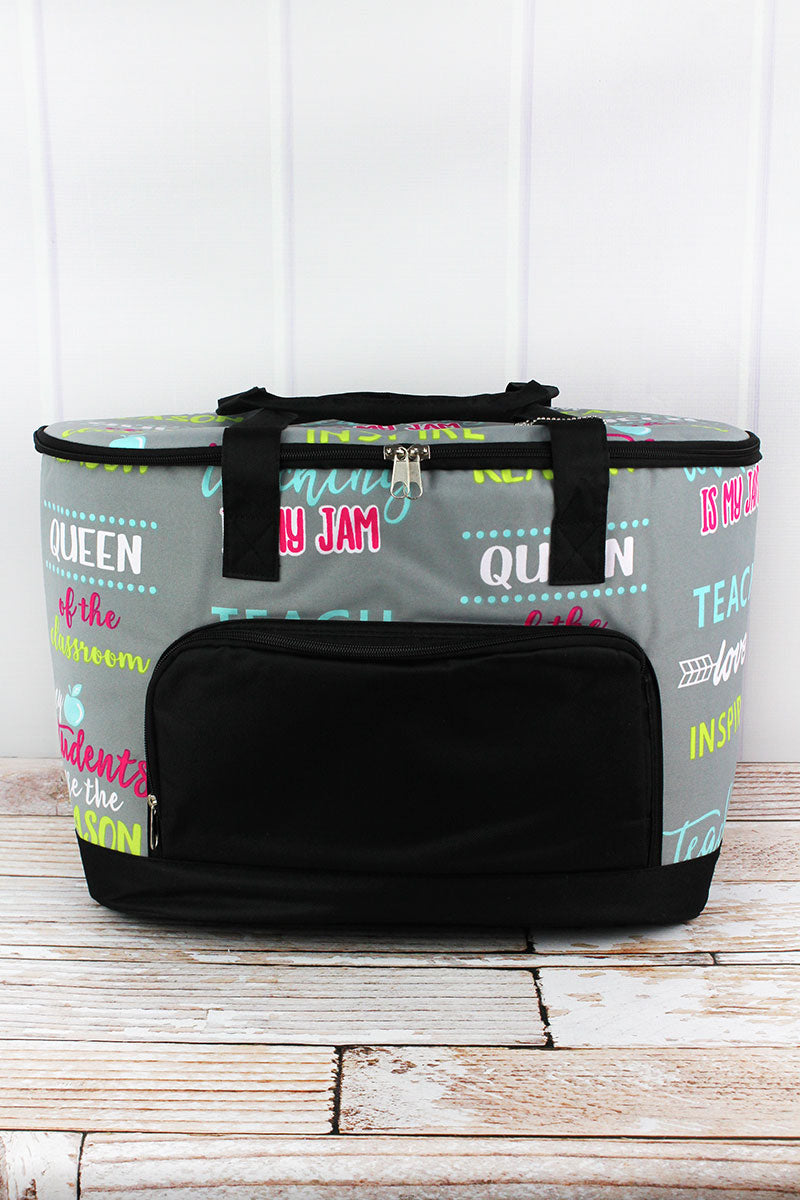 NGIL Teacher Life and Black Cooler Tote with Lid