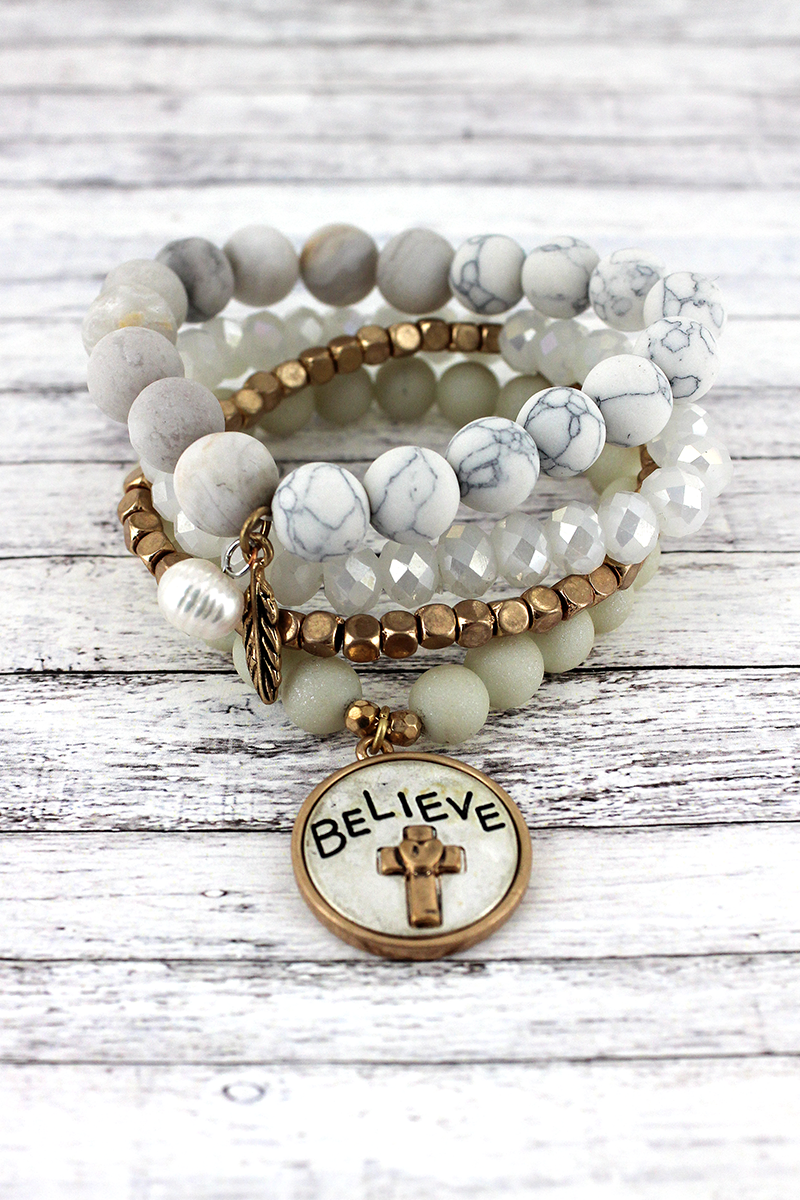 Two-Tone 'Believe' and Feather Charm White Beaded Bracelet Set