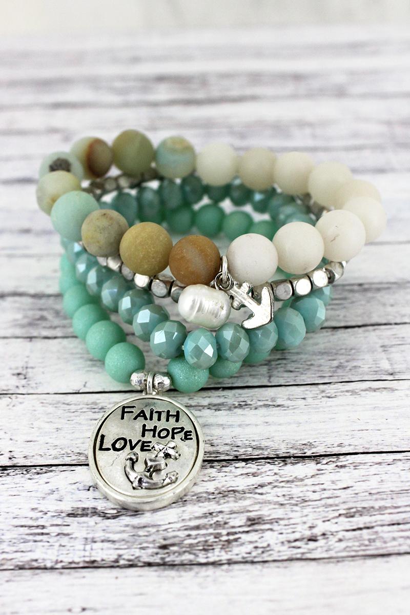 Silvertone 'Faith Hope Love' Oval and Anchor Charm Mint Beaded Bracelet Set