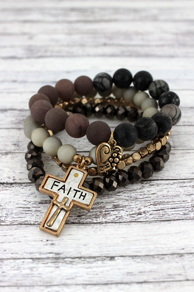 Two-Tone 'Faith' Cross and Heart Charm Gray Beaded Bracelet Set