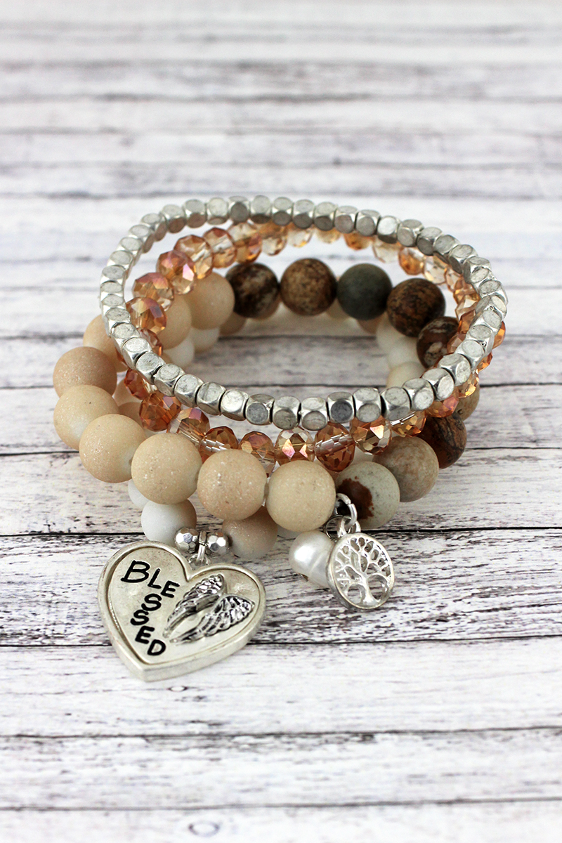 Silvertone 'Blessed' Wing and Tree of Life Charm Natural Beaded Bracelet Set